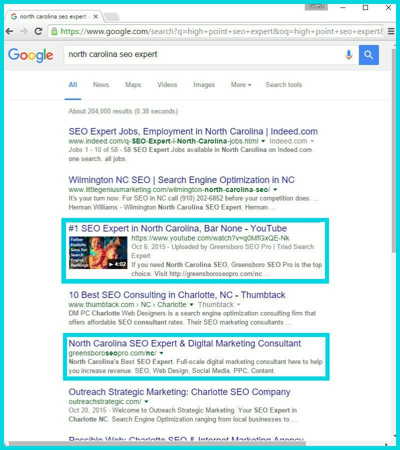 North Carolina SEO Expert December 2015 Proof